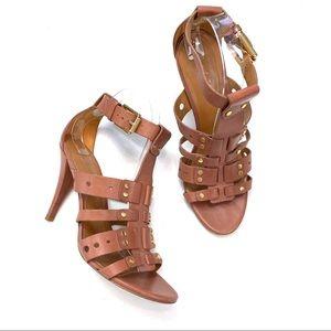 Pour La Victoire Tan Studded Sandals